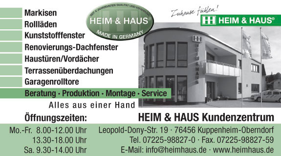 heim haus produktion u vertrieb gmbh in kuppenheim oberndorf mit adresse und telefonnummer. Black Bedroom Furniture Sets. Home Design Ideas