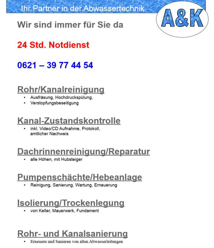 Bild 1 A & K Abwassertechnik in Mannheim
