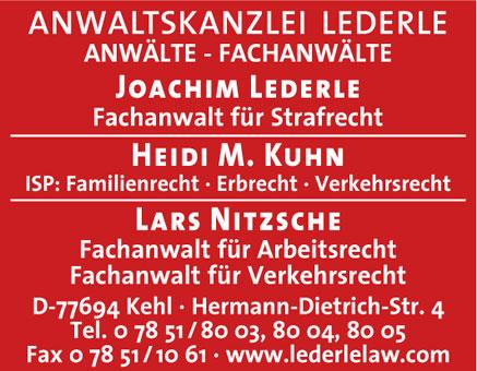 Anwaltskanzlei Lederle - Anwälte Fachanwälte Lederle Kuhn Nitzsche