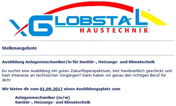 Meisterbetrieb für Sanitär und Heizungstechnik GLOBSTAL Haustechnik
